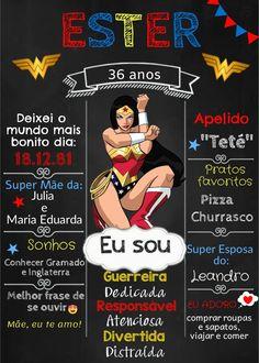 "Quadro de festa ""Mulher Maravilha"" chalkboard #QuadroNegro Wonder Woman Birthday, 21st Birthday, Cake Smash, Party Time, Lettering, Long Hair Styles, Halloween Balloons, 40th Birthday Parties, Masquerade Prom"