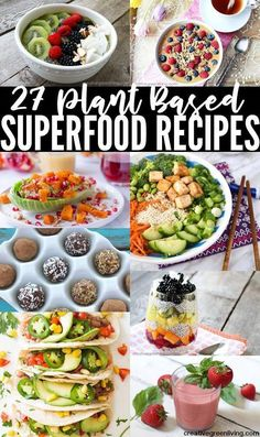 Plant Based Superfood Recipes for Breakfast, Lunch and Dinner - Inspired by Forks Over Knives? Looking for more plant based diet recipes? Here are 35 of my favorit - Plant Based Diet Meals, Plant Based Meal Planning, Plant Based Whole Foods, Plant Based Eating, Plant Based Dinner Recipes, Plant Based Snacks, Vegan Recipes Plant Based, Plant Based Diet Benefits, Plant Diet