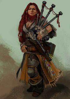 f Dwarf Bard Med Armor Bagpipes Chandra Pandhita lg Fantasy Dwarf, Fantasy Rpg, Medieval Fantasy, Fantasy Girl, Dungeons And Dragons Characters, D D Characters, Fantasy Characters, Fantasy Character Design, Character Design Inspiration