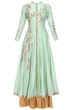 Joy Mitra pistachio green long anarkali suit with gold sequin work