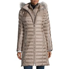 Bogner Lilia Puffer Coat W/ Fur-Trim Hood (145.480 RUB) ❤ liked on Polyvore featuring outerwear, coats, sand, navy blue coat, fur trim hooded coat, fur trimmed coat, bogner and hooded coats