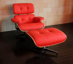 MLF® Eames Lounge Chair & Ottoman (7 Colors). High-elastic Soft Foam Cushions, Great Resilience & Never Lose Elasticity. Red Aniline Leather, 7-ply Walnut Veneer. Cast Aluminum 5 Star Swiveling Base. $949 at Amazon.com!