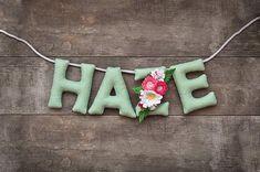 Felt name banner Mint Bouquet banner Floral nursery decor