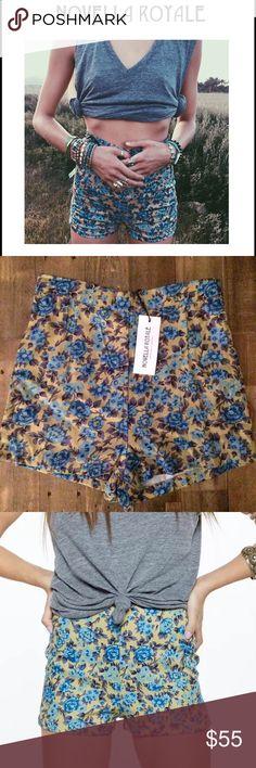 🌞NOVELLA ROYALE Luna High Waisted Shorts🌞 NOVELLA ROYALE Luna High Waisted Shorts in blue roses print. NWT never worn!! Perfect for Coachella!! Novella Royale Shorts