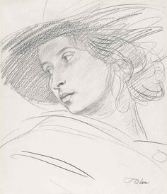 Augustus John, O.M., R.A. (1878-1961) | Dorelia in a hat | Modern British & Irish Art Auction | 20th Century, Drawings & Watercolors | Christie's