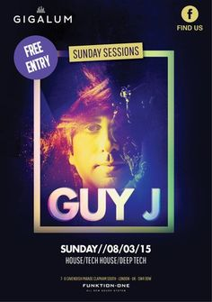 Guy J On March 08, 2015 at 4:00 pm - 11:00 pm at Gigalum, 7-8 cavendish parade, London, SW4 9DW, United Kingdom, ElectronicSessions celebrates it's 9th birthday this coming March with a spectacular two part birthday weekender and we hope you can join in the celebrations with us! Category: Bars, Price: free, Artists: guyj