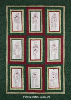 Nutcracker Christmas BOM Stitchery was inspired by a friends Nutcracker collection. Each of the nine blocks are stitched in red work back stitch embroidery and feature a different Nutcracker including a drummer, a shepherd, a trumpeter and many more. Nutcracker Christmas is a 9 month BOM. The patterns are a PDF digital download that you print or view yourself.