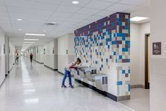 Brenham Middle School - Brenham ISD - Corgan Cafeteria Design, Illustration Photo, Hotels For Kids, School Bathroom, Modern Bathroom Tile, School Murals, Restroom Design, Toilet Design, School Architecture