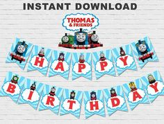 Thomas The Train Banner & Thomas The Train Birthday Banner & Thomas Birthday Parties, Thomas The Train Birthday Party, Trains Birthday Party, Train Party, Birthday Banner Template, Happy Birthday Banners, Birthday Party Invitations, Party Cartoon, Thomas And Friends
