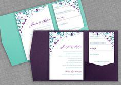 DIYWeddingTemplates.com - DiY Printable Pocket Wedding Invitations | Chic Bouquet (Jade & Purple)