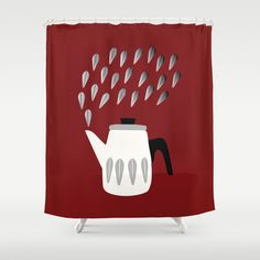 Steaming Coffeepot in Grey Shower Curtain by The Bearded Bird. - $68.00