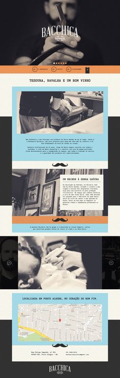 Responsive one pager for 'Bacchica Barbearia' barbershop featuring vintage style graded images to give the site a traditional feel like barbershop from the 50's.
