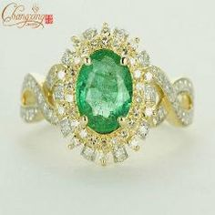[ $88 OFF ] Solid 14Kt Gold Natural 1.85Ct Columbian Emerald Diamond Engagement Ring
