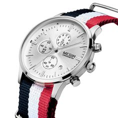 MEGIR Sports Watch Chronograph 24 Hours Men Fashion Casual Clock Blue Red Nylon Band Sport Watch Men Wristwatch