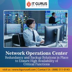 Redundancy and Backup Solutions in Place to Ensure High Availability of Critical Functions. Network Operations Center, Microsoft Support, Network Monitor, Delaware, Georgia, Atlanta, Texas, Florida, California