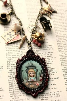Alice and wonderland necklace by Mab Graves © Mab Graves Lewis Carroll, Diy Jewelry, Jewelry Making, Jewellery, Go Ask Alice, Were All Mad Here, Alice In Wonderland Party, Through The Looking Glass, Disney Inspired