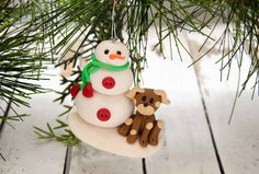 Winter Friends Snowman and Puppy Ornament, Polymer Clay Ornament by Creative Contours