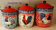 chicken canisters, vintage kitchen, red white and blue