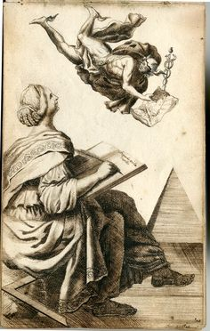 Anna Maria Thelott: Writing woman and Hermes. Circa 1704-1709. Uppsala University.