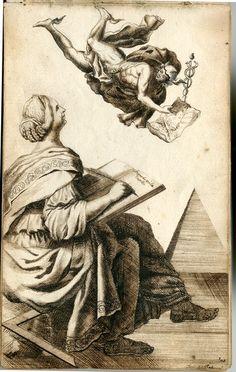 Anna Maria Thelott: Writing woman and Hermes. Circa 1704-1709. Uppsala University.