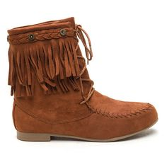 Just Right Faux Suede Moccasin Boots COGNAC ($24) ❤ liked on Polyvore featuring shoes, loafers, brown, brown shoes, cognac brown shoes, cognac shoes and faux suede shoes