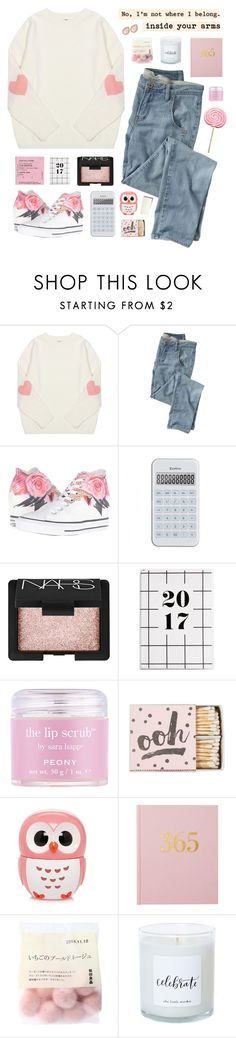 """""""Shot Through The Heart"""" by amazing-abby ❤ liked on Polyvore featuring Wrap, Converse, NARS Cosmetics, Sara Happ, Forever 21 and Kate Spade"""