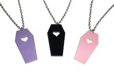 Laser cut coffin necklace  Perfect creepy cute necklace, choose your favourite from 3 colours  * 18 inch silver plate chain * Laser cut acrylic pendant, about 2 inches tall * All my jewelry is lead and nickle free  If you would like a different chain length or a bronze/gold/black chain pl...