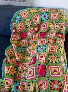 Crocheted afghan with diagram