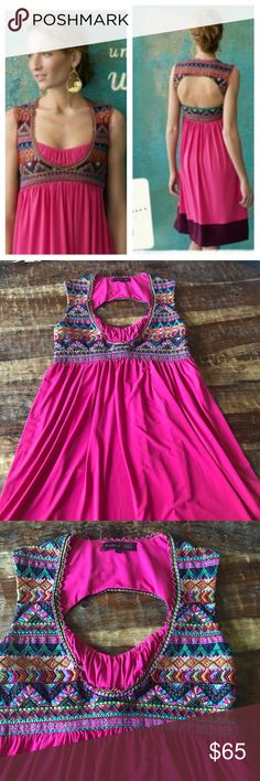 """Ranna Gill Ballia Dress Stunning pink beaded dress with back cut out. I'm excellent condition with a few beads consign lose behind the neck. Chest is 17""""across laying flat and, waist is 15"""" across, length is 36"""" Anthropologie Dresses"""