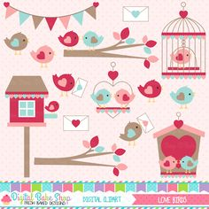 Love Birds Valentine Clipart - perfect for Valentine's Day crafts.