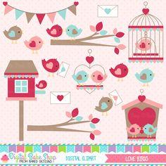Love Birds Valentine Clipart - perfect for Valentine's Day crafts.