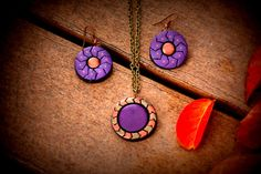 Purple and copper terracotta pendant and earring set, perfectly handmade elegant statement jewelry, dangling earrings, statement earrings