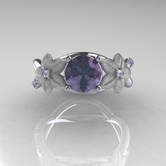 Nature Classic 14K White Gold 1.0 CT Alexandrite Diamond  Leaf and Vine Engagement Ring R180-14KWGDALL. $1,149.00, via Etsy.