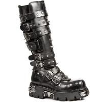 Rivet spikes boots black 7 buckles NEW ROCK M.796-S1