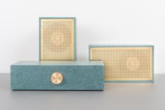 A two speaker stereo system designed with Bang & Olufsen componentry that toes the line between simplicity and glamor.