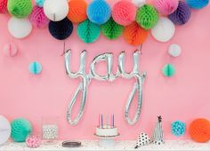 "One balloon that says it all -  You need this 'yay' script balloon in your life! Includes one (1) 45"" uninflated mylar foil balloon Air-fill Only Ships flat.  B"