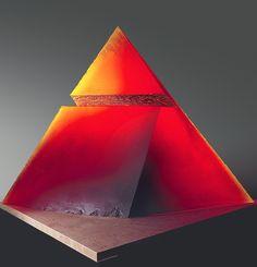 Stanislav Libenský and Jaroslava Brychtová Red Pyramid, 1993 cast glass, 35 x 46 x Red Pyramid, Kiln Formed Glass, Cast Glass, Cast Art, Glass Ceramic, Carnival Glass, Glass Design, Colored Glass, Czech Glass