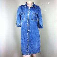 Denim front snap button , mid thigh high dress