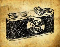 Vintage 35mm appareil photo Clipart Lineart Illustration téléchargement immédiat JPG PNG Digi ligne Art Image dessin L122