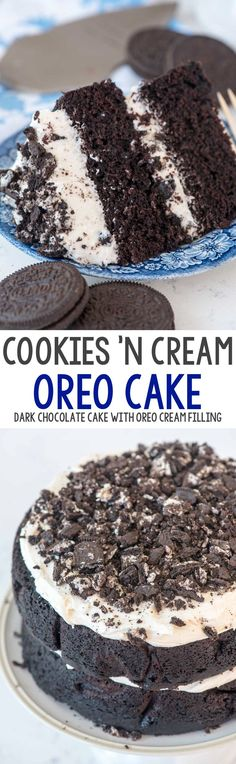 Extreme Cookies 'n Cream Cake - this cake tastes like an Oreo cookie! Dark chocolate cake layers sandwiched with a marshmallow buttercream frosting and lots of crushed Oreo cookies. # oreo Desserts Extreme Cookies 'n Cream Oreo Cake Oreo Desserts, Oreo Cake Recipes, Chocolate Desserts, Baking Recipes, Delicious Desserts, Dessert Recipes, Yummy Food, Kitchen Recipes, Party Desserts