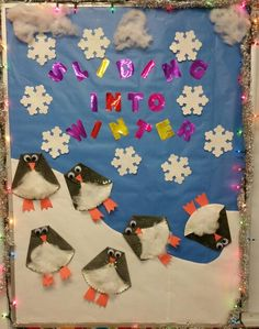 Our preschool class made the paper plate penquins. Great winter bulletin board.