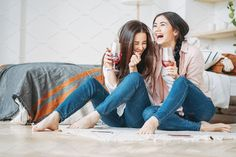Young carefree brunette girls friends with glasses of wine at home by GalinkaZhi. Young carefree laughing brunette girls friends in casual with glasses of wine having fun together on the home party Bff Poses, Girl Poses, Sister Poses, Friend Poses Photography, Lifestyle Photography, Photography Aesthetic, Photography Ideas, Toddler Poses, Friends Laughing