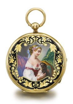Yellow Gold And Enamel Open Faced Watch, Case Back With Polychrome Enamel Scene Depicting A Lady Holding A Spaniel, Black Enamel Border With Engraved Foliate Decoration   c.1850   -   Sotheby's