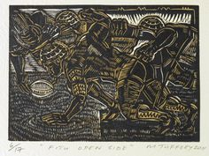 Sefulu, The Dropkick by Michel Tuffery (NZ), Embossed woodblock print on Pescia paper Modern Art, Contemporary Art, Polynesian Art, Nz Art, Maori Art, Wood Engraving, Woodblock Print, Pattern Art, Home Art