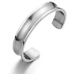 19CM Mens Womens Cuff Bracelet Stainless Steel Bangle Bracelet Grooved Polished and Satin -- Check out this great product @ http://www.amazon.com/gp/product/B00MN6TMC6/?tag=splendidjewelry07-20&ptu=160716054829
