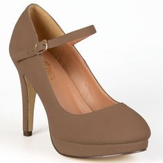 Journee Collection Shelby Women's Platform Mary Jane Heels, Girl's, Size: 7.5 Wide, Dark Beige