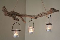 Driftwood hanging lanterns - living decoration made of driftwood - Driftwood hanging wind light RUFUS - Driftwood Projects, Driftwood Art, Driftwood Ideas, Driftwood Chandelier, Branch Decor, Hanging Lanterns, Hanging Lights, Mason Jar Lamp, Diy Home Decor