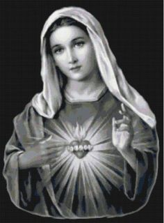Handmade Black and White Virgin Mary Sacred Heart Cross-Stitch Pattern