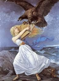 """217631 / Art Edvard Isto, or Eetu Isto - ATTACK 1899 , Russian eagle attacking the Finnish Maiden , Finland Finlande """" Helsinki, Library Of Alexandria, Art Nouveau, Old Paintings, Dark Skies, Romanticism, Beach Scenes, National Museum, Musée National"""