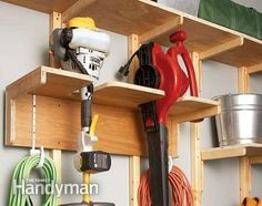 Garage Storage Solutions: One-Weekend Wall of Storage - Step by Step: The Family Handyman Create your own custom storage system in one weekend Diy Garage Storage Systems, Garage Tool Organization, Garden Tool Storage, Diy Storage, Workshop Organization, Workshop Ideas, Storage Hooks, Shed Storage Solutions, Storage Shelves